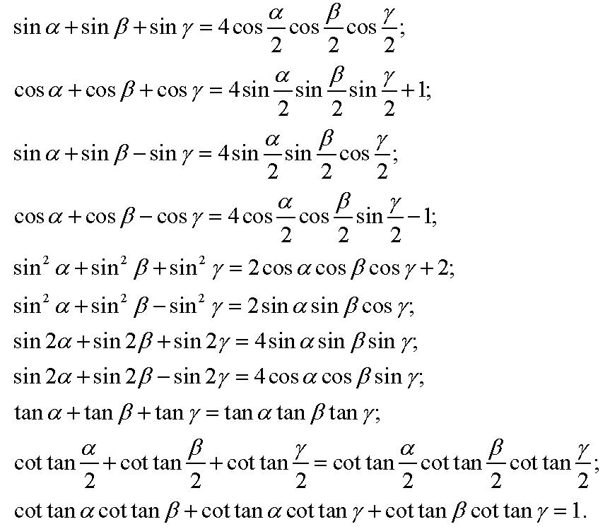 Một số công thức đối với các góc trong một tam giác